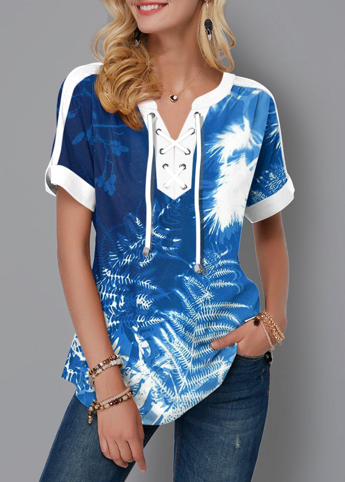 Tie Dye Tropical Print Lace Up Blouse