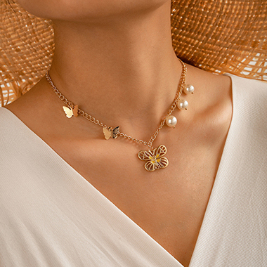 Pearl Detail Gold Metal Butterfly Pendant Necklace