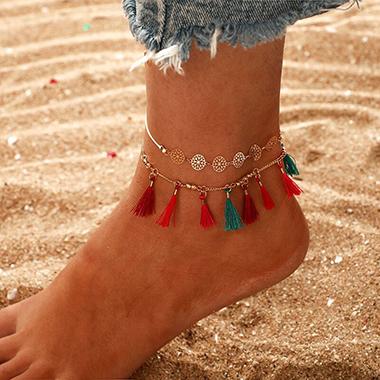 Tassel Hem Beads Gold Metal Anklet Set