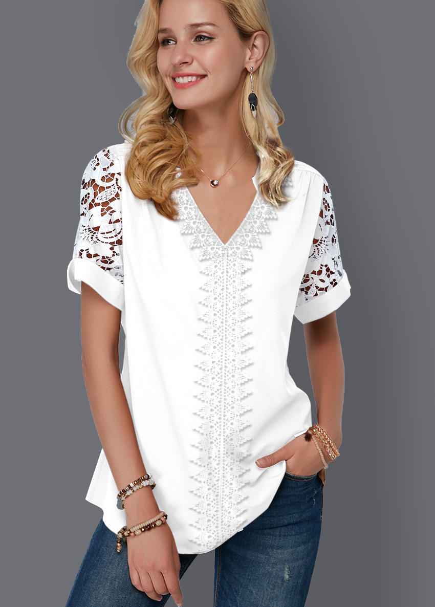 Lace Panel Split Neck Short Sleeve Blouse