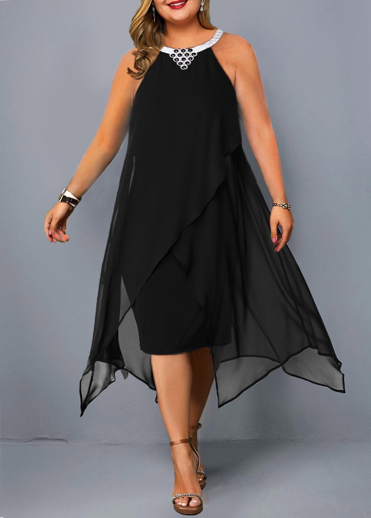 Plus Size Asymmetric Hem Embellished Neck Chiffon Dress