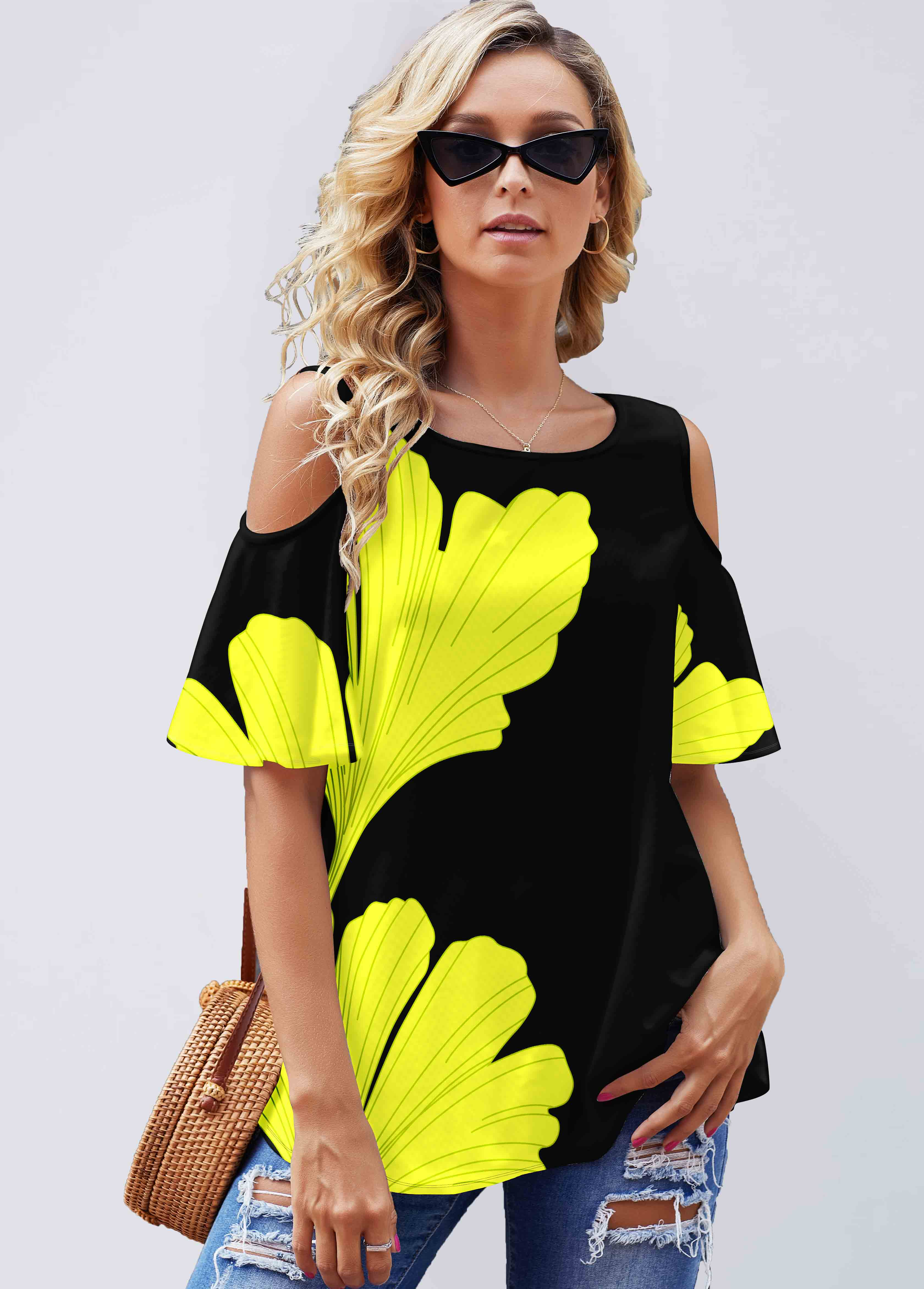 Ginkgo Biloba Print Cold Shoulder T Shirt