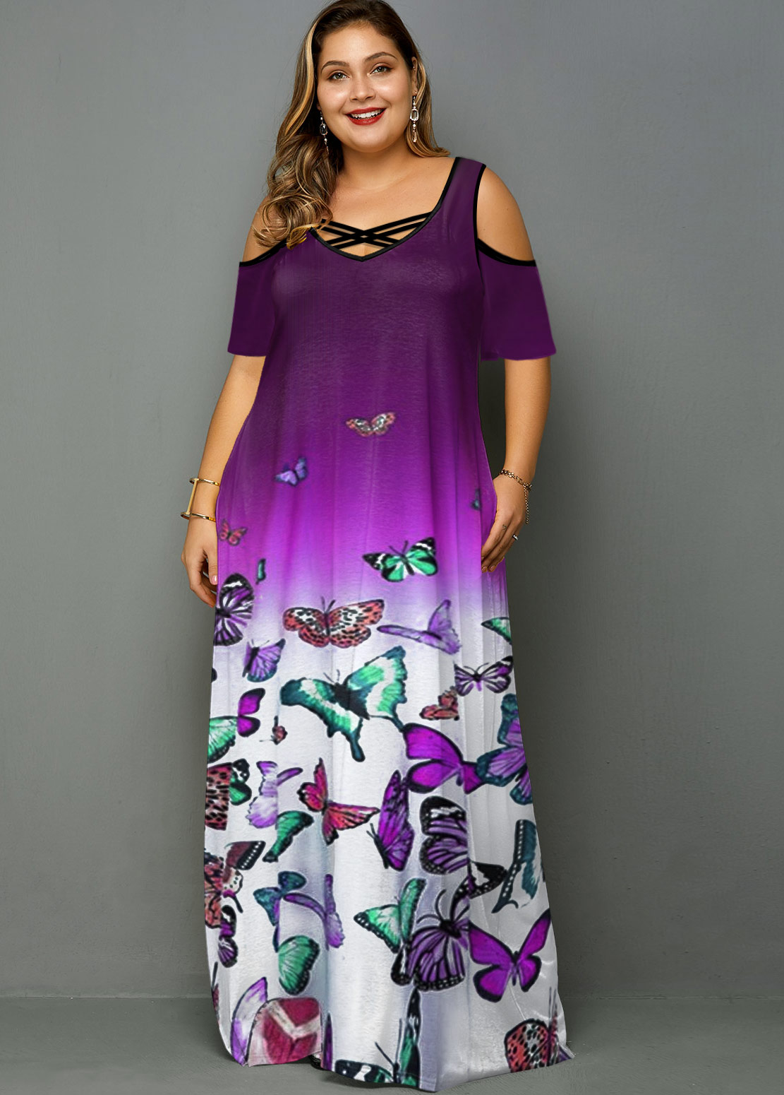 Plus Size Butterfly Print Cold Shoulder Ombre Dress