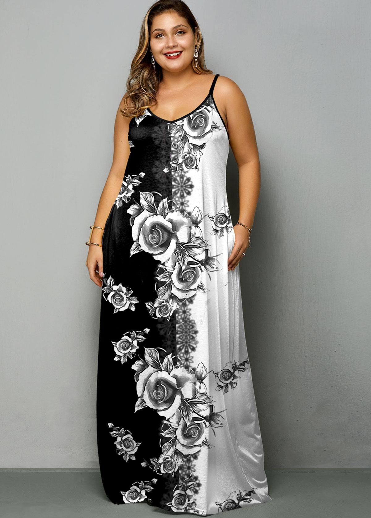 Plus Size Tie Dye Print Spaghetti Strap Dress