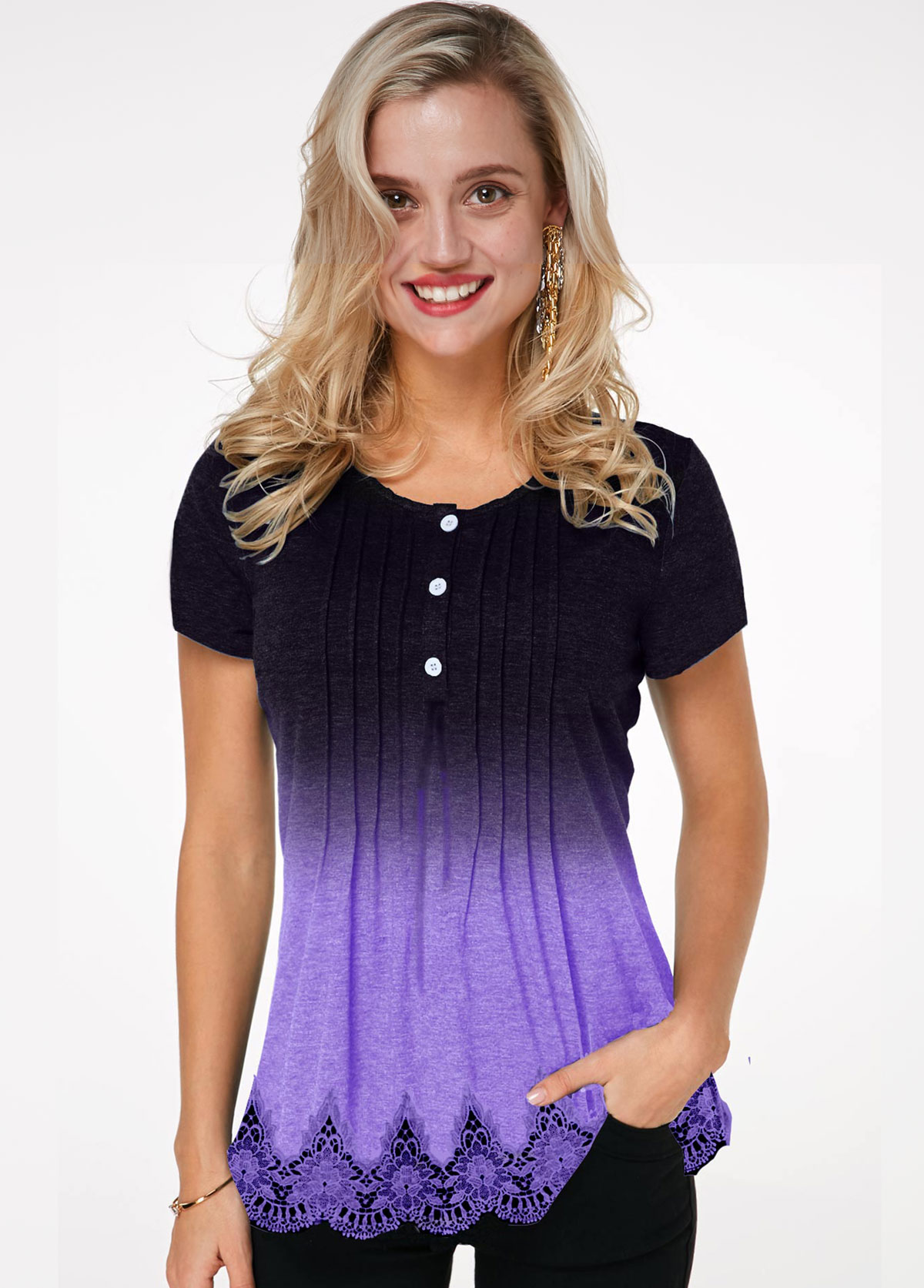 Round Neck Crinkle Chest Lace Hem Ombre T Shirt