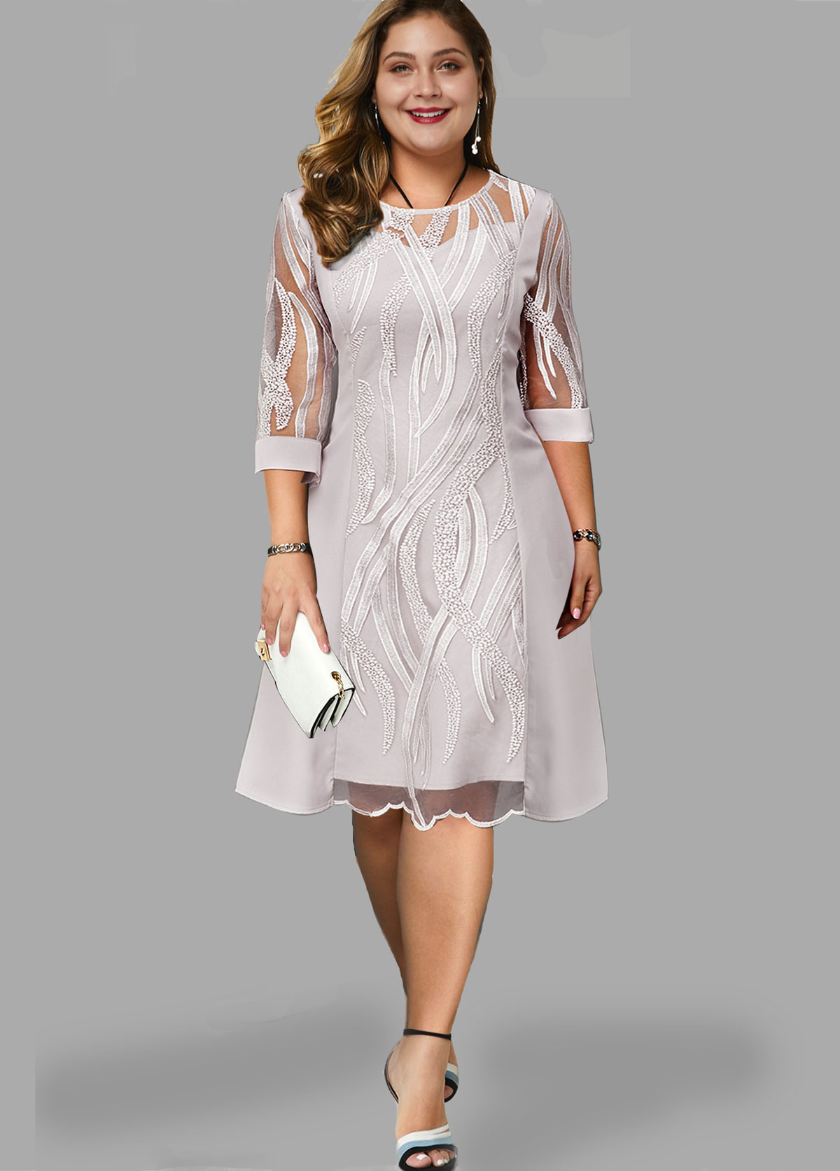 Plus Size Round Neck Three Quarter Sleeve Lace Dress