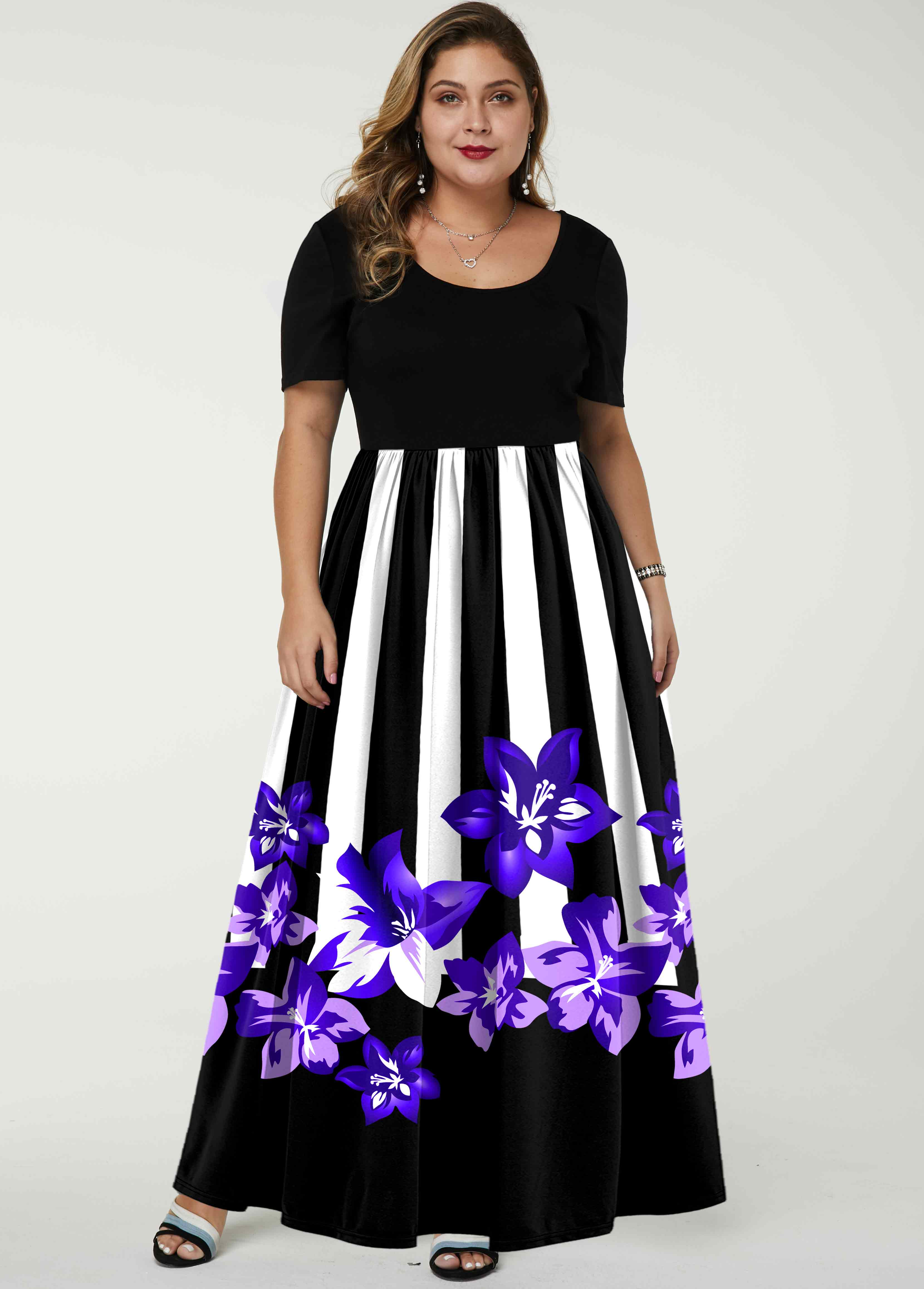 Stripe and Floral Print Short Sleeve Plus Size Dress