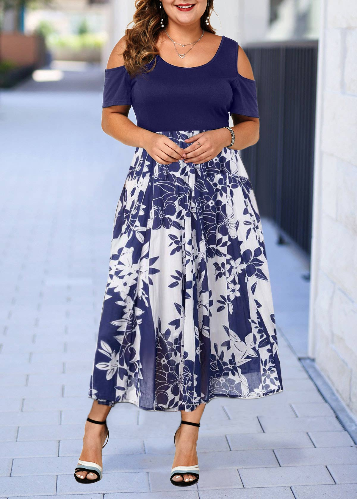 Plus Size Cold Shoulder Printed Dress