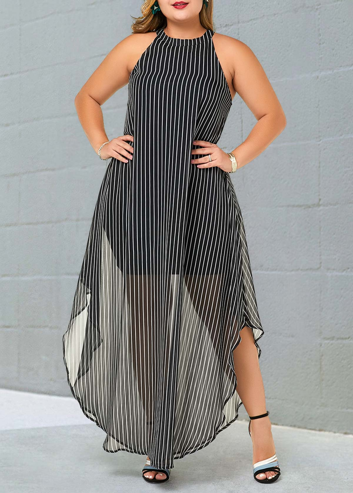Plus Size Semi Sheer Striped Bib Neck Dress