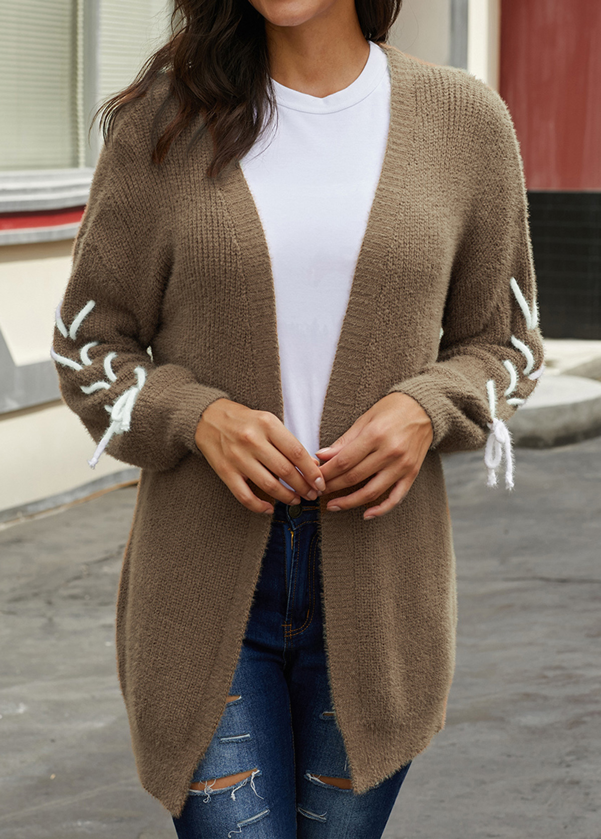 Open Front Lace Up Long Sleeve Cardigan