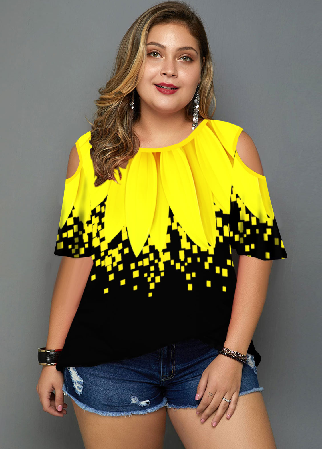 Plus Size Cold Shoulder Sunflower Print T Shirt