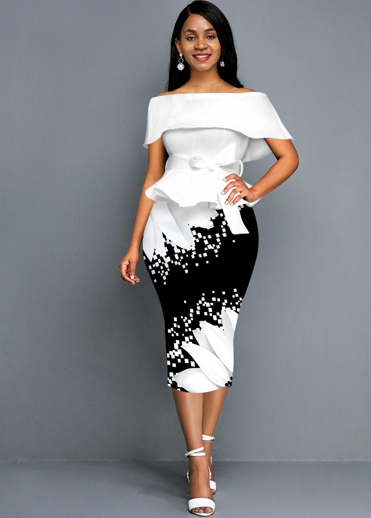 Sunflower Print Off the Shoulder Foldover Belted Dress