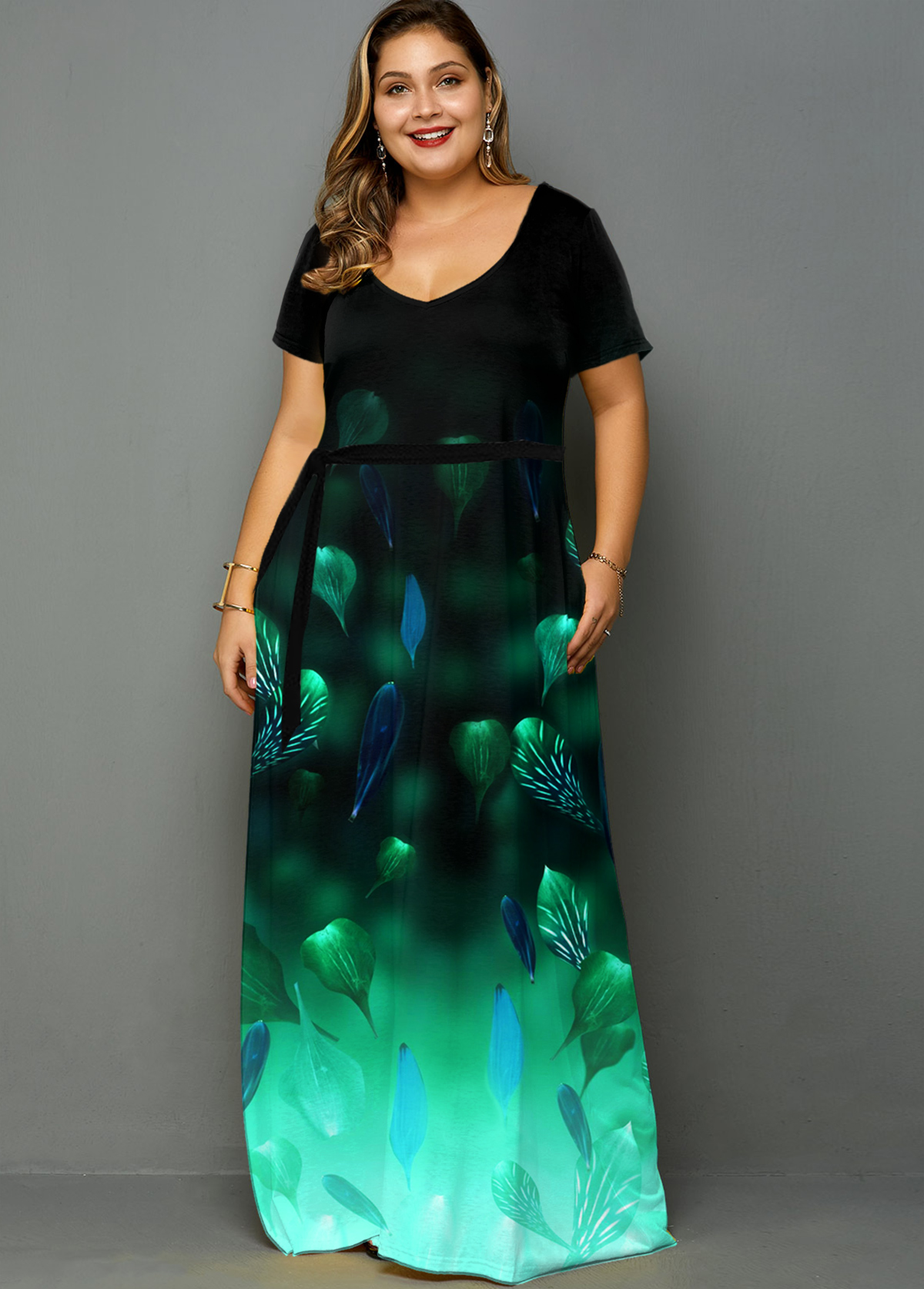 Plus Size Side Pocket Printed Ombre Dress