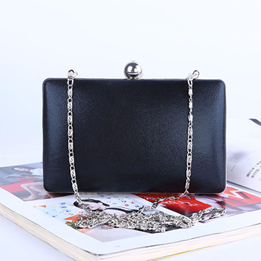 Metal Chain Black PU Evening Bag