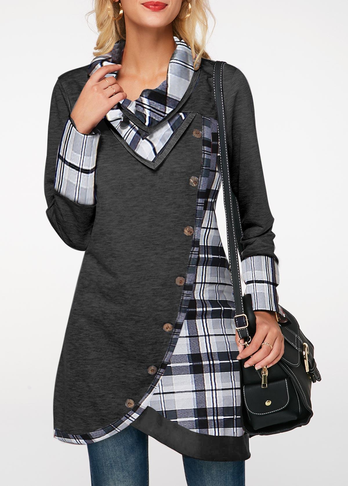 Plaid Print Inclined Button Turndown Collar Sweatshirt