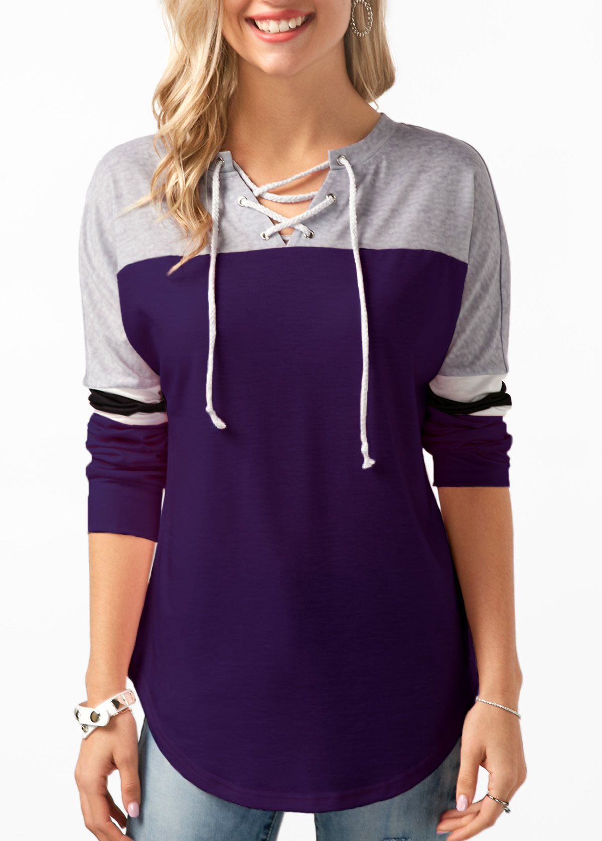 Long Sleeve Lace Up Contrast Sweatshirt