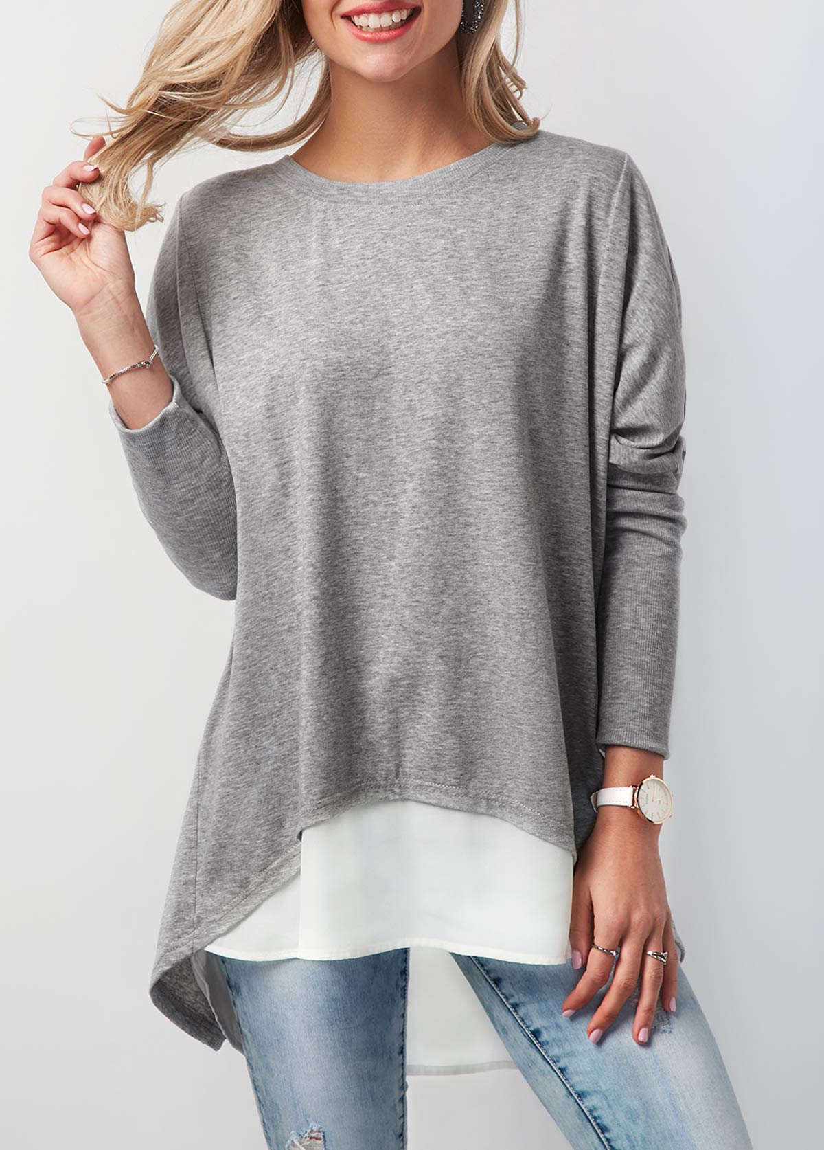 Contrast Round Neck Button Back T Shirt