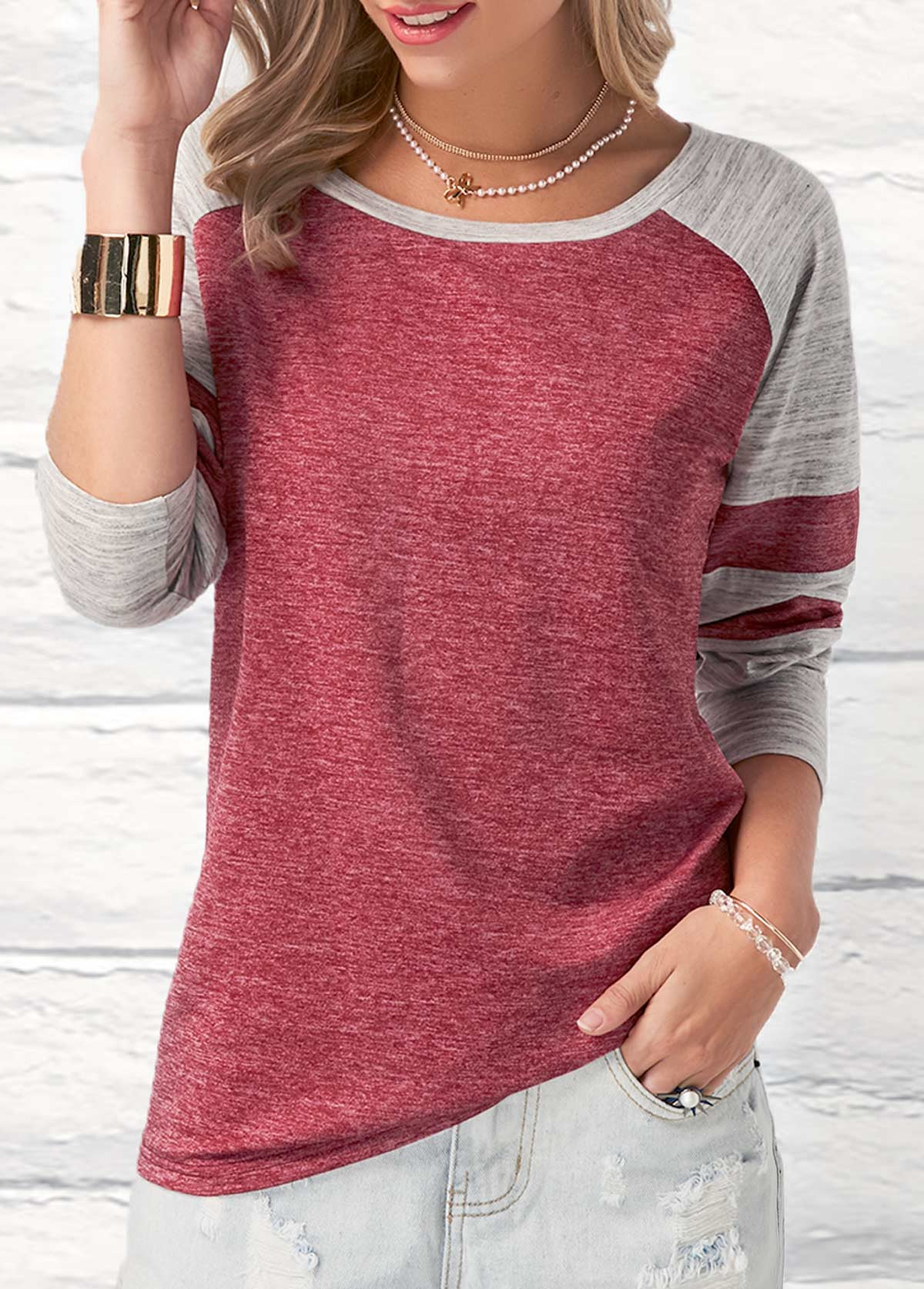 Round Neck Contrast Long Sleeve T Shirt
