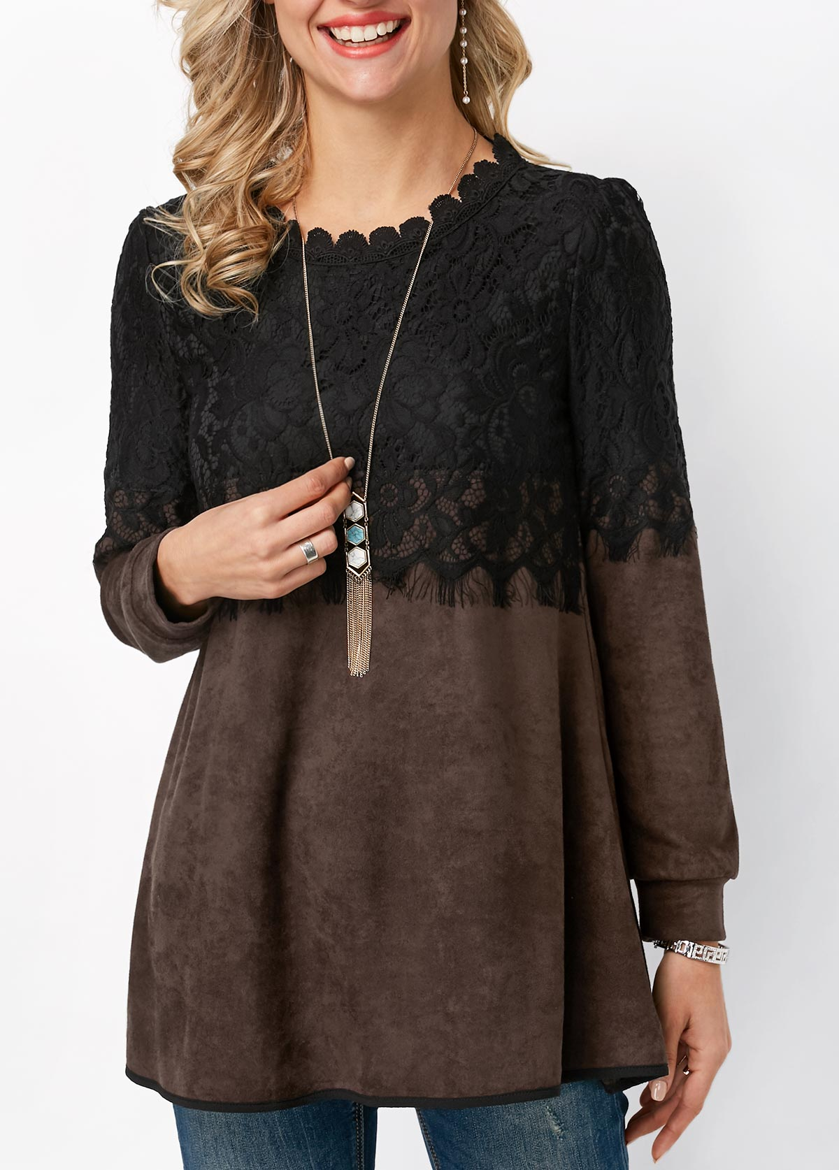 Lace Panel Round Neck Long Sleeve T Shirt