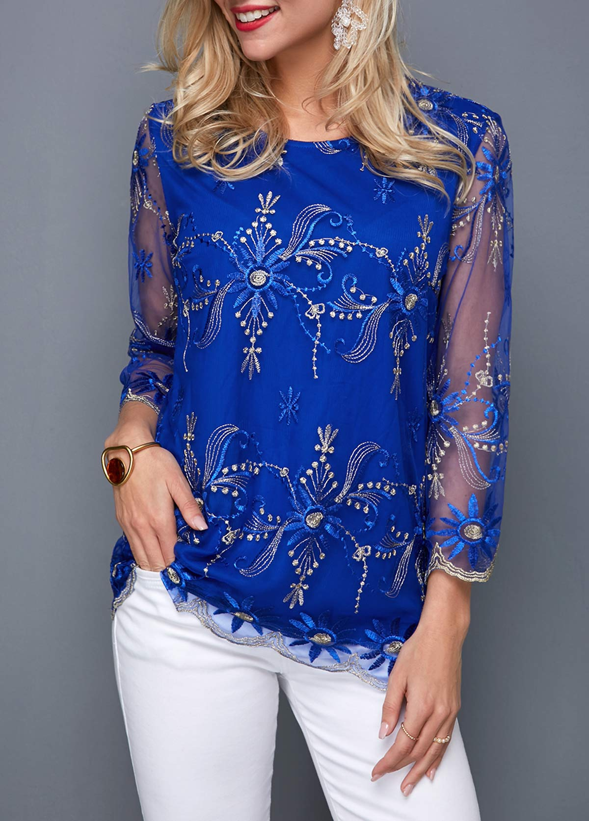 Embroidered Mesh Panel Round Neck Blouse