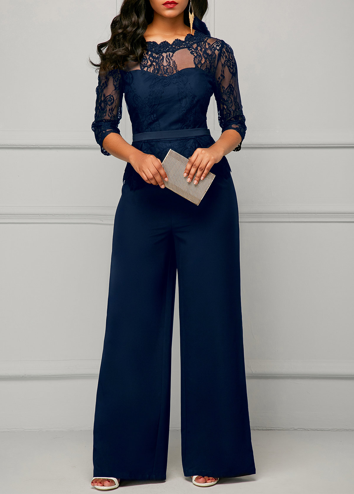 Lace Panel Round Neck Three Quarter Sleeve Jumpsuit