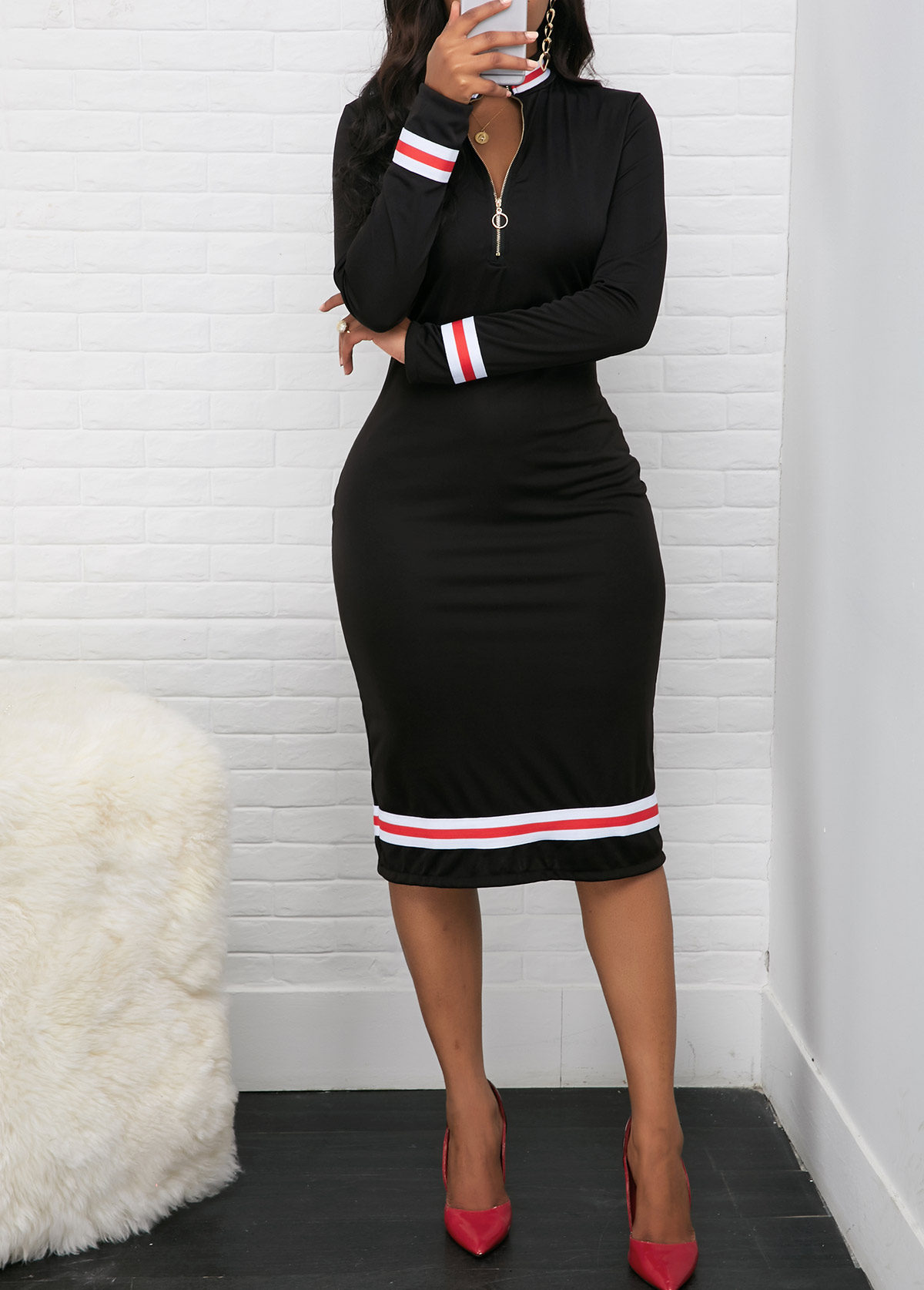 Contrast Striped Quarter Zip Long Sleeve Dress