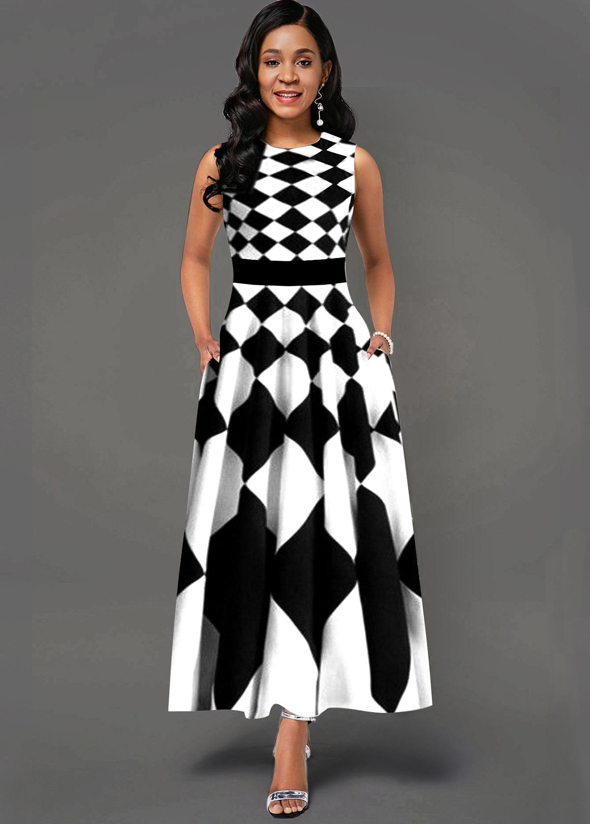 Geometric Print Side Poclket Sleeveless Maxi Dress