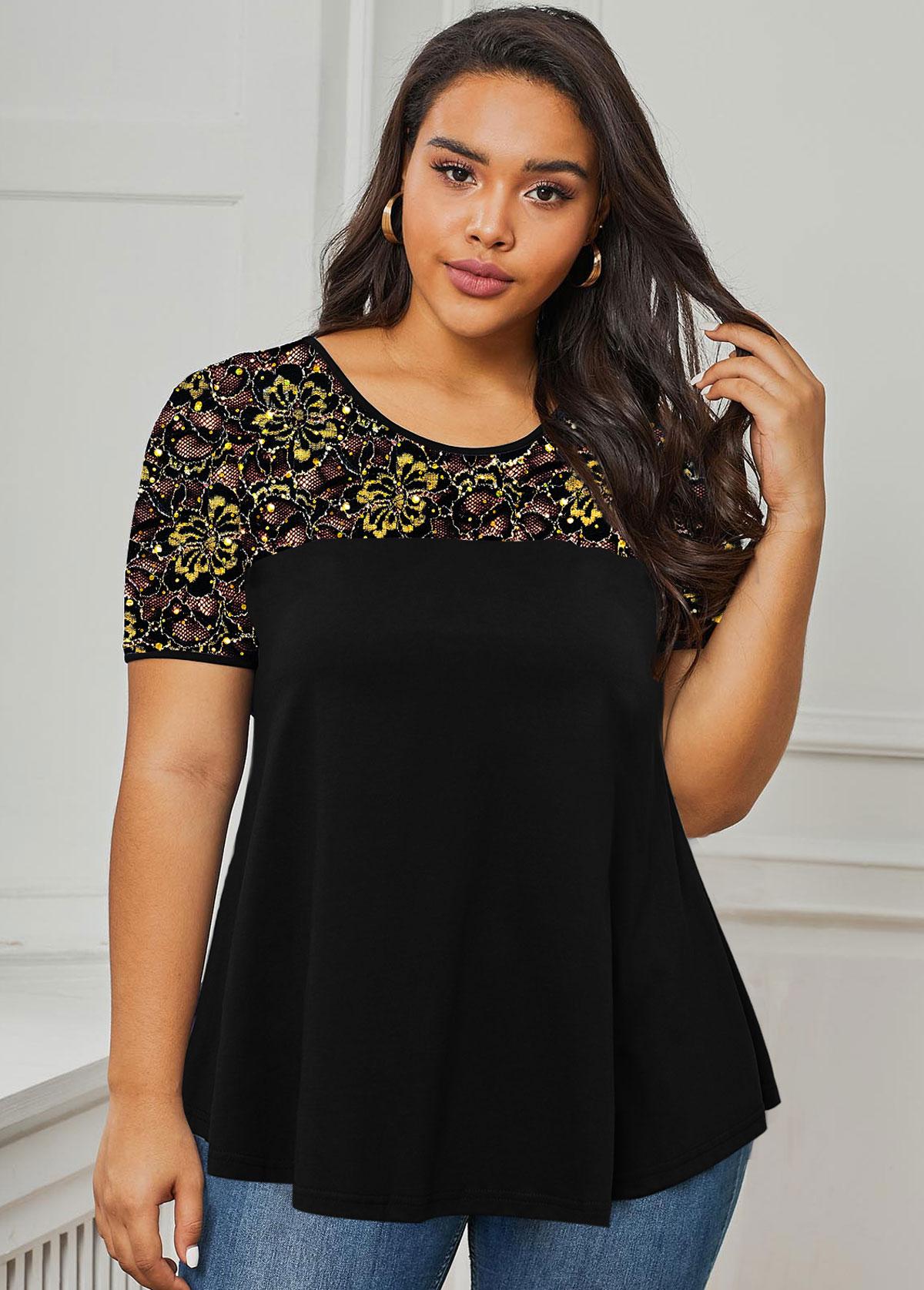 Plus Size Lace Panel Sequin Detail T Shirt