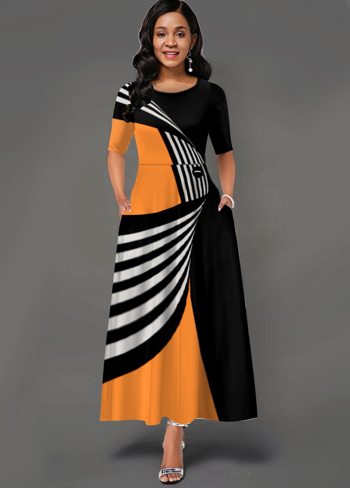 Geometric Print Side Pocket Round Neck Maxi Dress