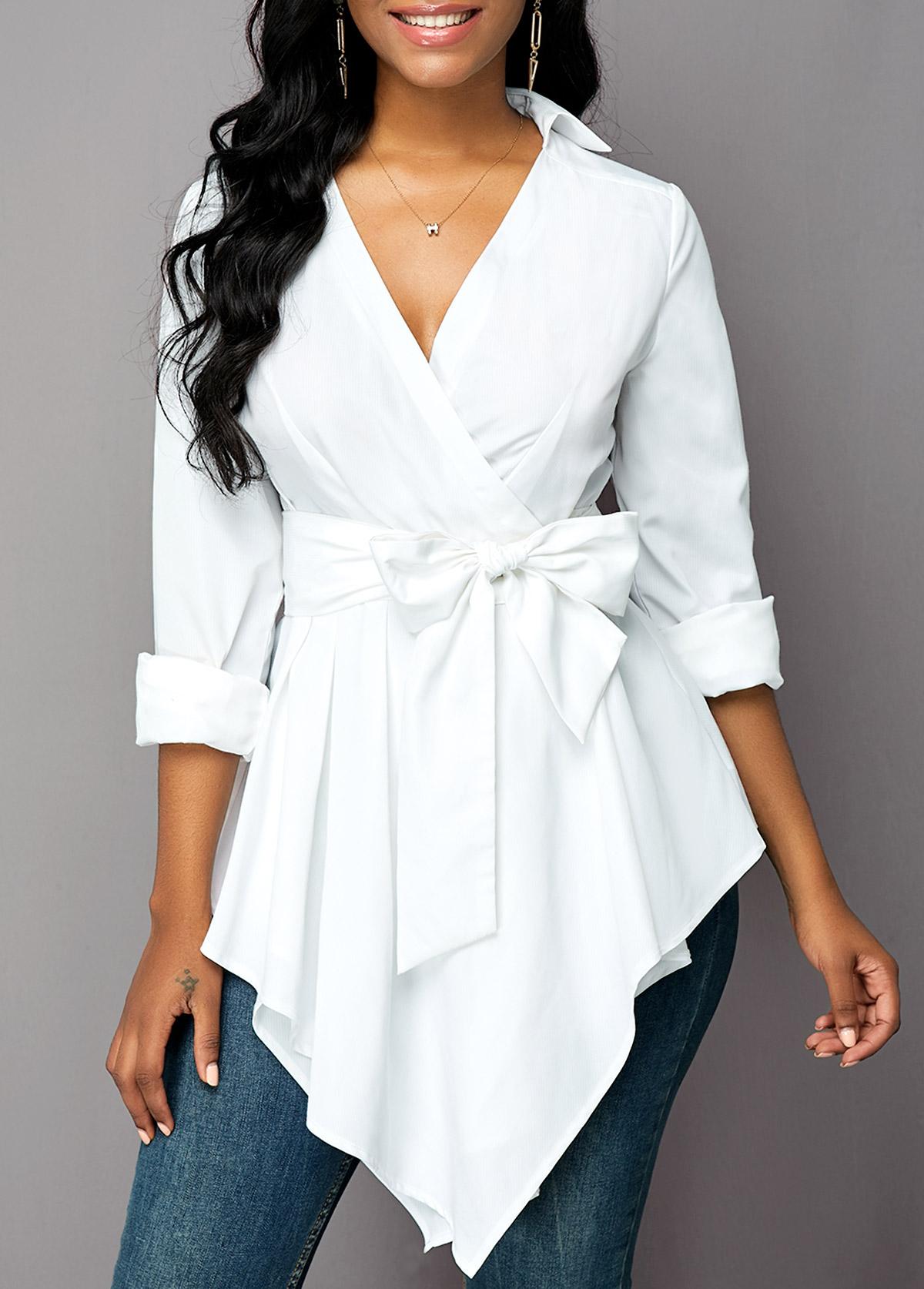 Asymmetric Hem Long Sleeve Belted Blouse