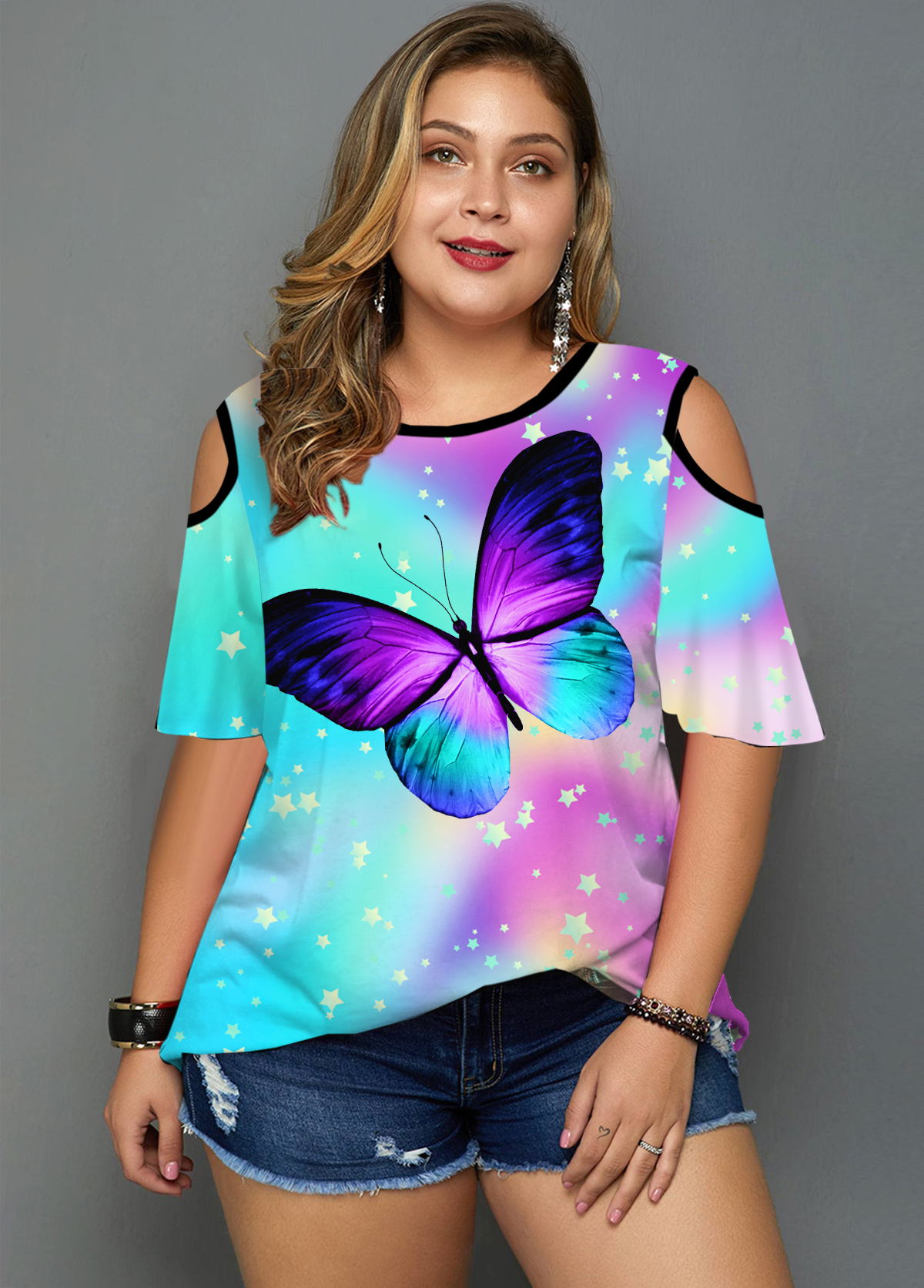 Plus Size Cold Shoulder Rainbow Butterfly T Shirt