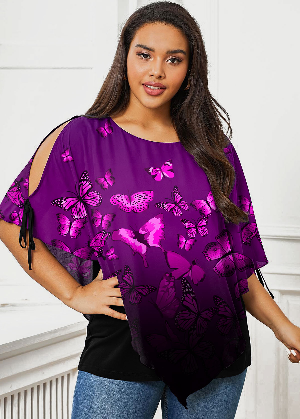 Plus Size Ombre Butterfly Print T Shirt