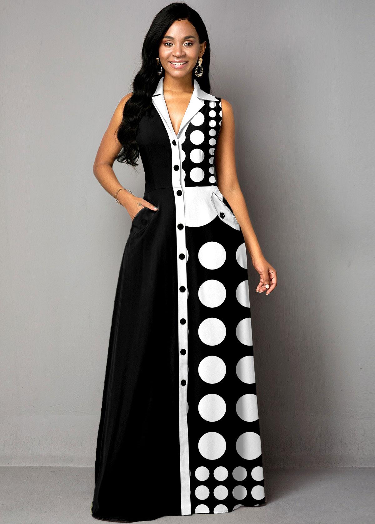 Button Up Polka Dot Color Block Maxi Dress
