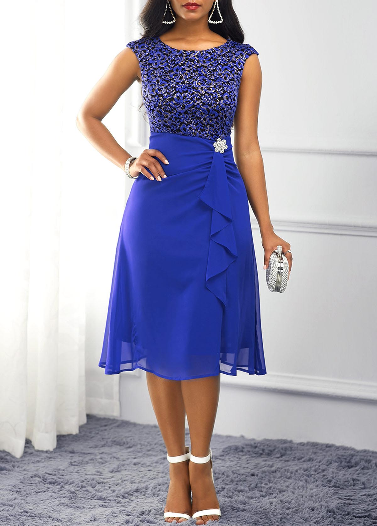 Lace Panel Ruffle Trim Royal Blue Dress