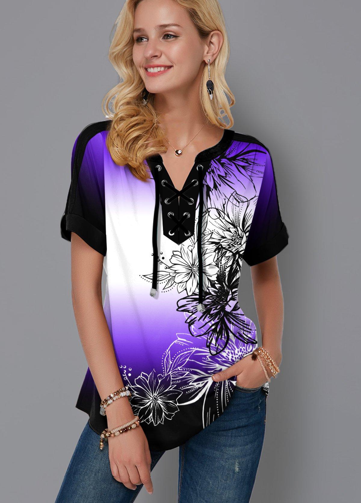 Ombre Lace Up Floral Print Blouse