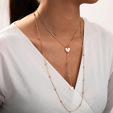 Heart Design Gold Metal Layered Necklace