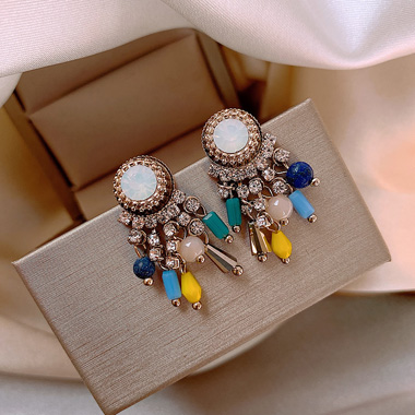 Multi Color Bead Embellished Pearl Earring Set