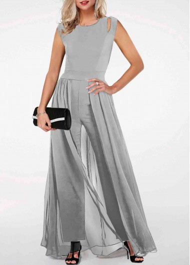 Light Grey Jumpsuit Round Neck Jumpsuit High Waist Jumpsuit Sleeveless Chiffon Jumpsuit for Women - XXL