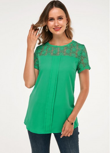 Lace Panel Round Neck Short Sleeve Lace Blouse - 10