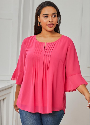 Pink Crinkle Chest Three Quarter Sleeve Plus Size Blouse - 1X
