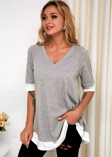 V Neck Faux Two Piece Grey T Shirt - L