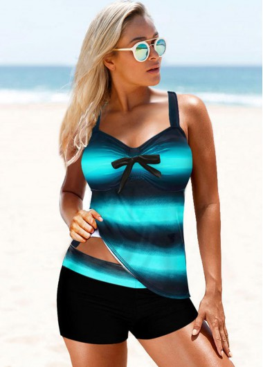Cyan Cross Back Printed Tankini Set - L