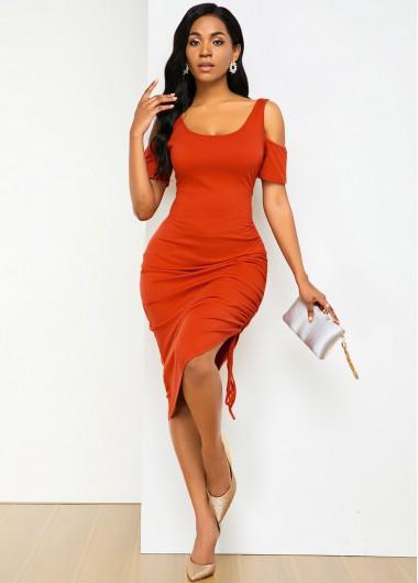 Asymmetric Hem Cold Shoulder Drawstring Detail Soft Dress - S