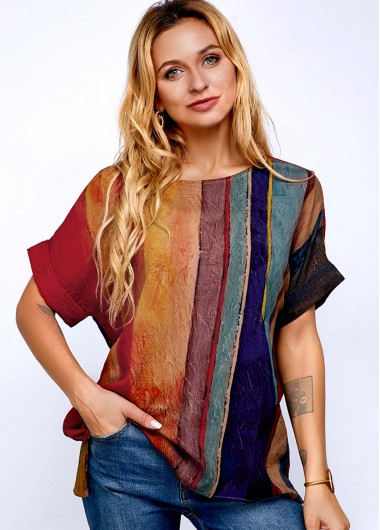 Round Neck Stripe Print Short Sleeve T Shirt - L