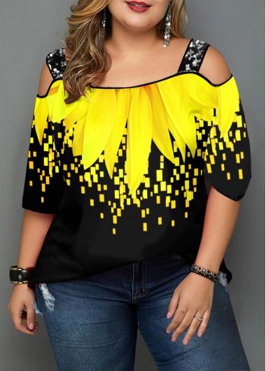 Plus Size Sunflower Print Cold Shoulder T Shirt - 1X