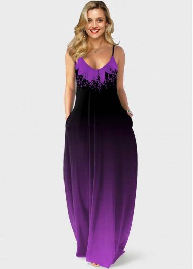 Purple Gradient Side Pocket Spaghetti Strap Maxi Dress - L