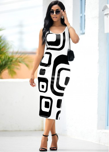 Geometric Print Sleeveless White Bodycon Dress - L