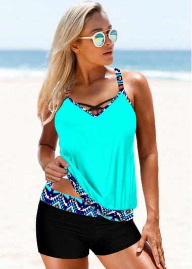 Tribal Print Strappy Back Cyan Tankini Set - L