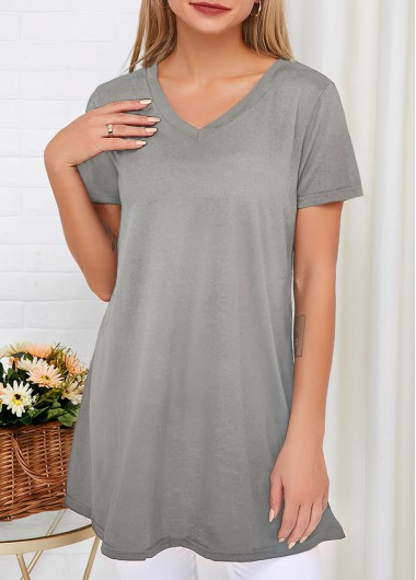 Short Sleeve V Neck Light Grey T Shirt - L