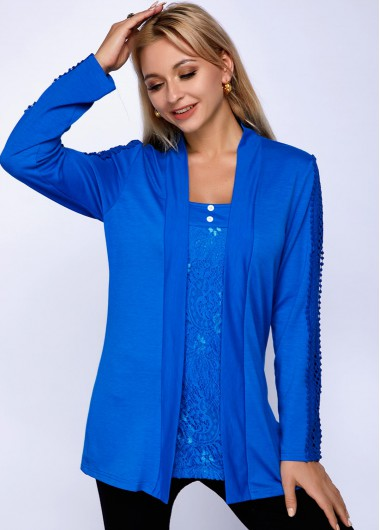 Lace Panel Long Sleeve Faux Two Piece T Shirt - L
